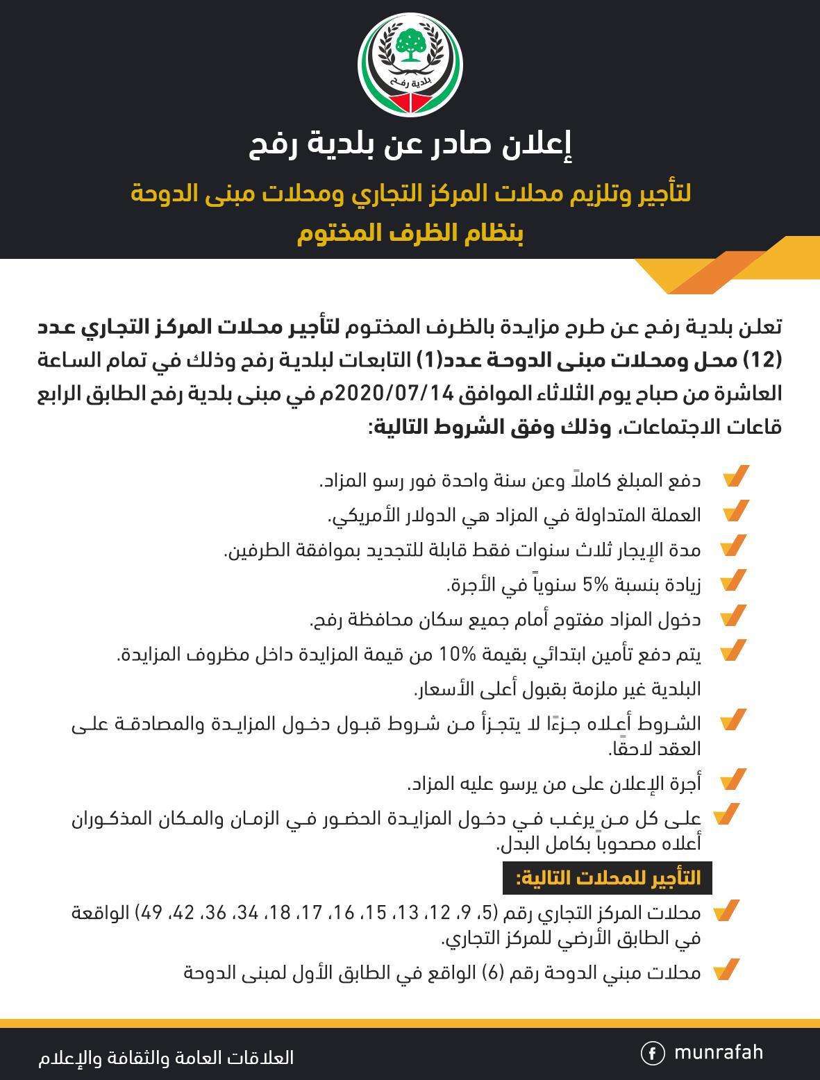 إعلان تلزيم محلات المركز التجاري ومبنى الدوحة