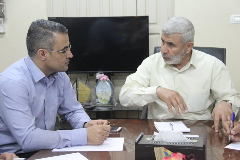 اجتماع رئيس بلدية رفح أ. صبحي أبو رضوان مع إدارة شركة توزيع الكهرباء